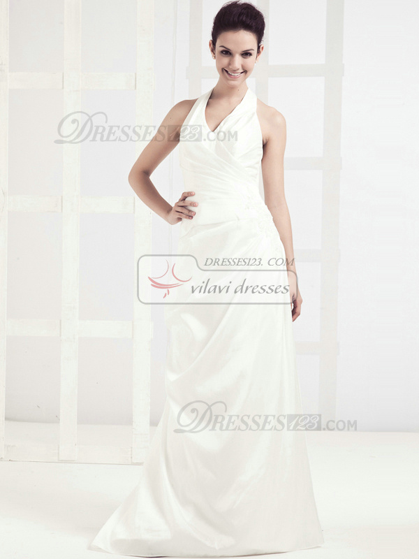 Glamorous Column Satin Halter Sweep Wedding Dresses