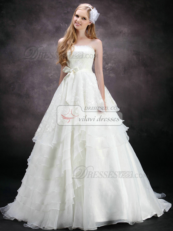 Gorgeous A-Line Strapless Tube Top Sweep Train Oganza Bowknot Side-draped Wedding Dresses