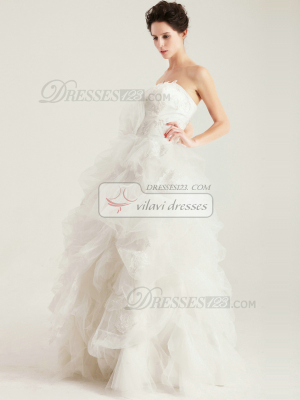 Gorgeous Ball Gown Floor-length Strapless Tube Top Wedding Dress