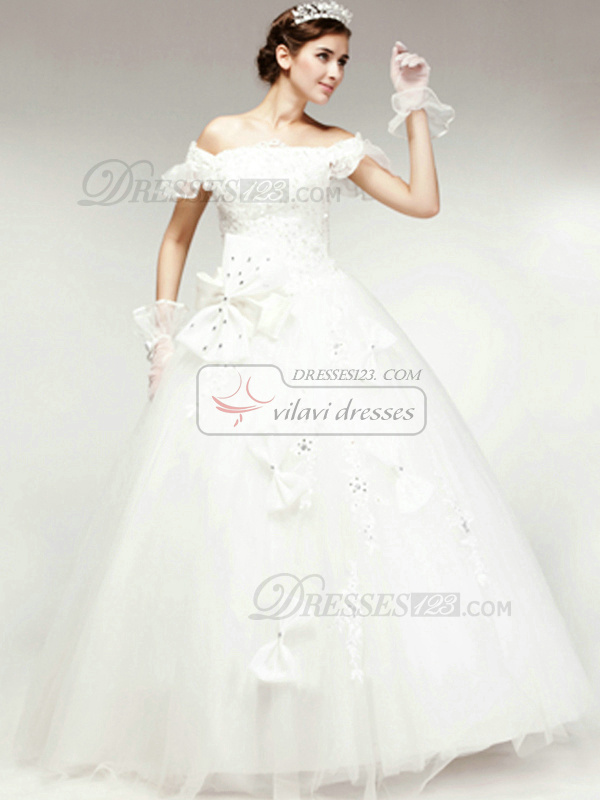 Gorgeous Ball Gown Off-the-shoulder Floor-length Bowknot Wedding Dresses