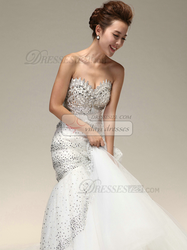 Gorgeous Mermaid Sweetheart Beading Flower Wedding Dresses