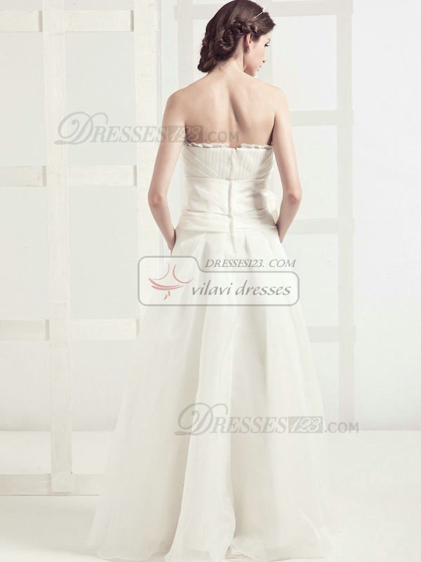Graceful A-line Tulle Floor-length Sashes Wedding Dresses