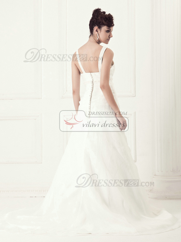 Graceful A-line V-neck Sweep Appliques Wedding Dresses