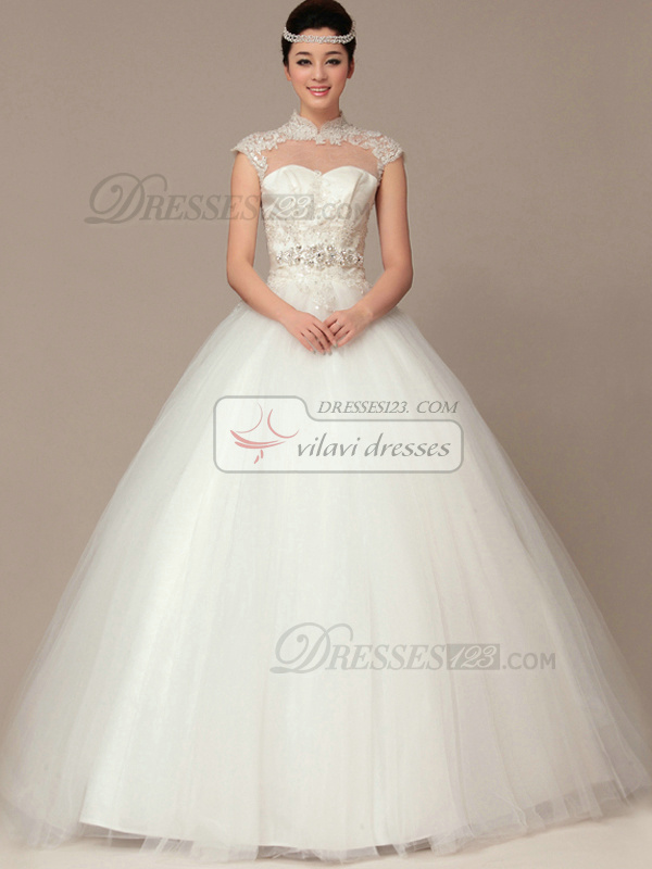 Graceful ball gown high neck floor length lace wedding for Around the neck wedding dresses