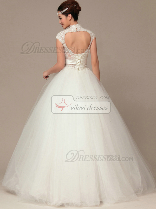 Graceful Ball Gown High neck Floor-length Lace Wedding Dresses