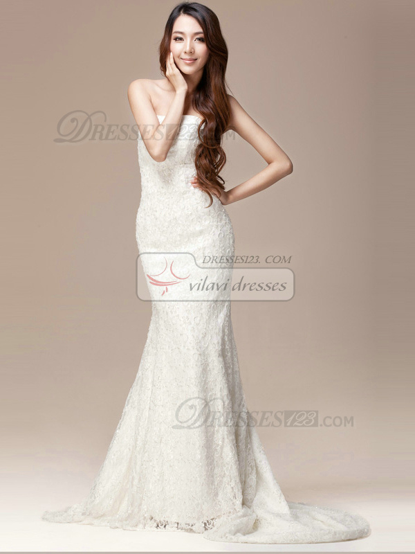 Graceful Lace Natural Strapless Tube Top Court Train Wedding Dress