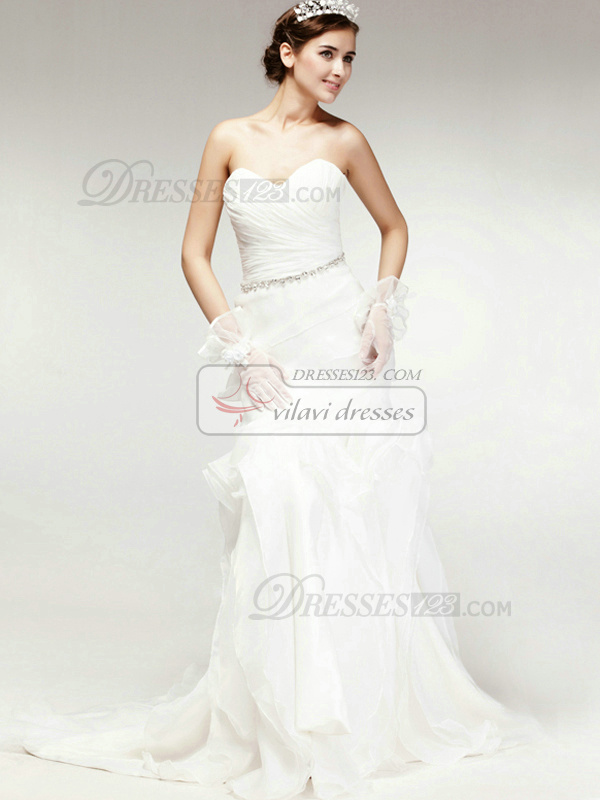 Graceful Mermaid Organza Chapel Train Pick-Ups Wedding Dresses