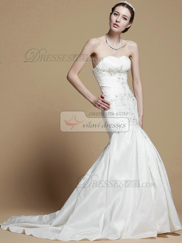 Graceful Mermaid Taffeta Sweep Appliques Wedding Dresses