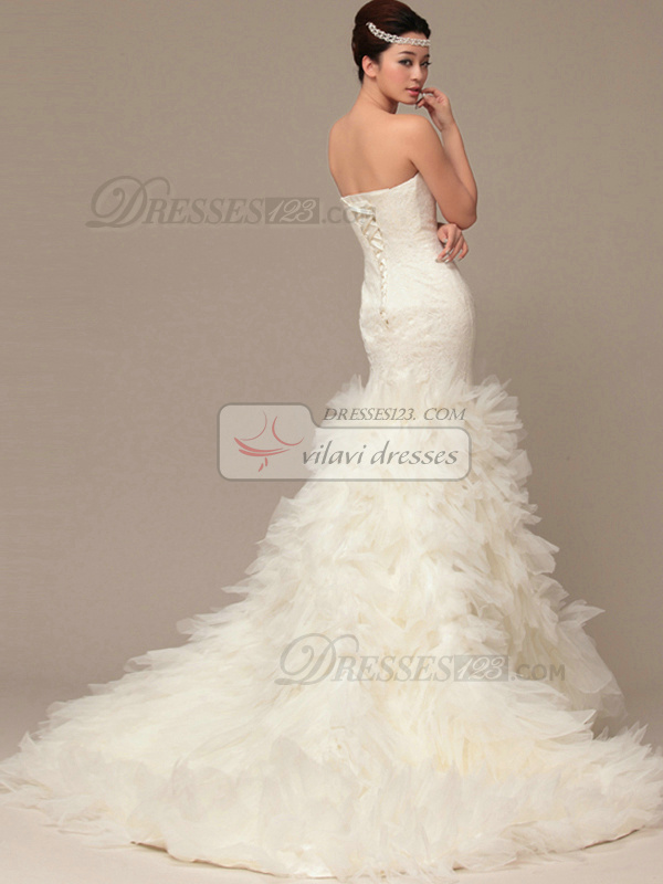 Graceful Mermaid Tube Top Court Train Tiered Wedding Dresses