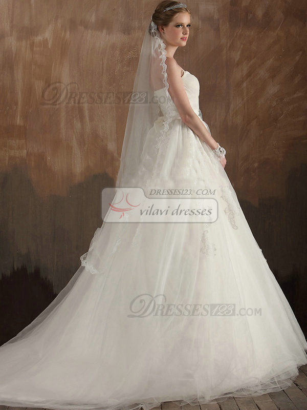Great A-Line Sweetheart Strapless Sweep/Brush Train Tulle Lace Sashes Wedding Dresses