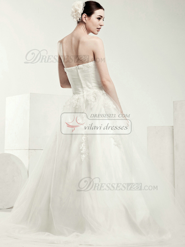 Great A-line Tulle Sweetheart Appliques Wedding Dresses