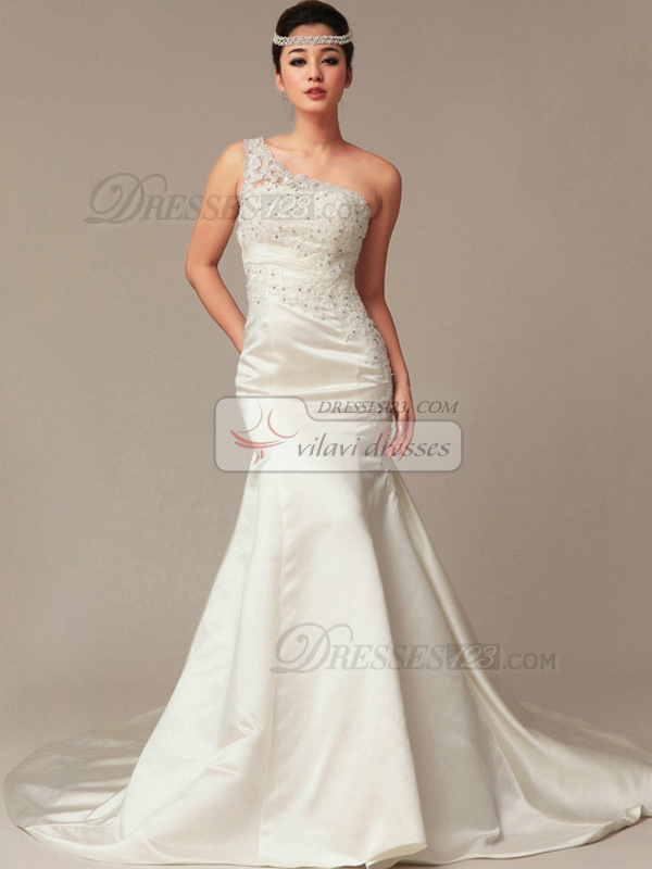 Great Mermaid Satin One shoulder Court Train Wedding Dresses