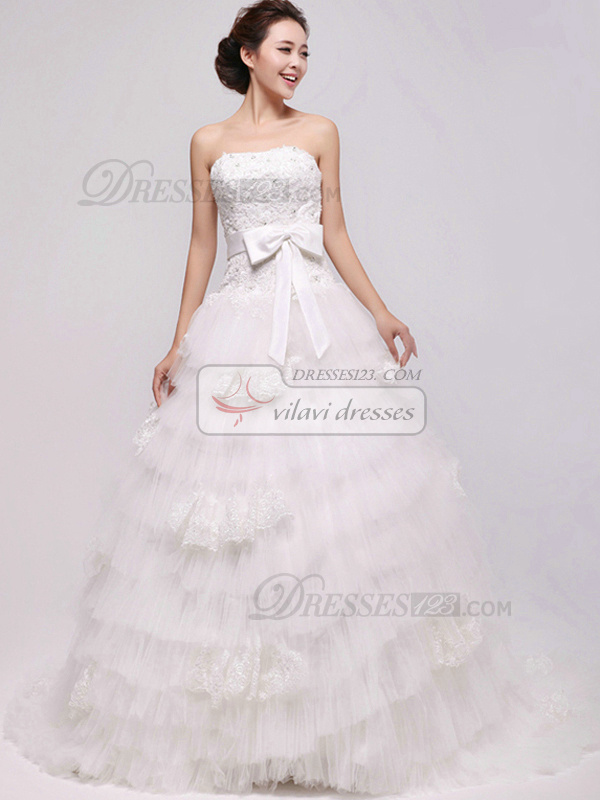 Happiness Ball Gown Tulle Cathedral Train Tiered Wedding Dresses
