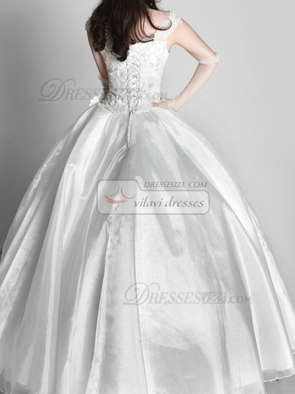 Happiness Ball Gown Tulle Off-the-shoulder Floor-length Wedding Dresses