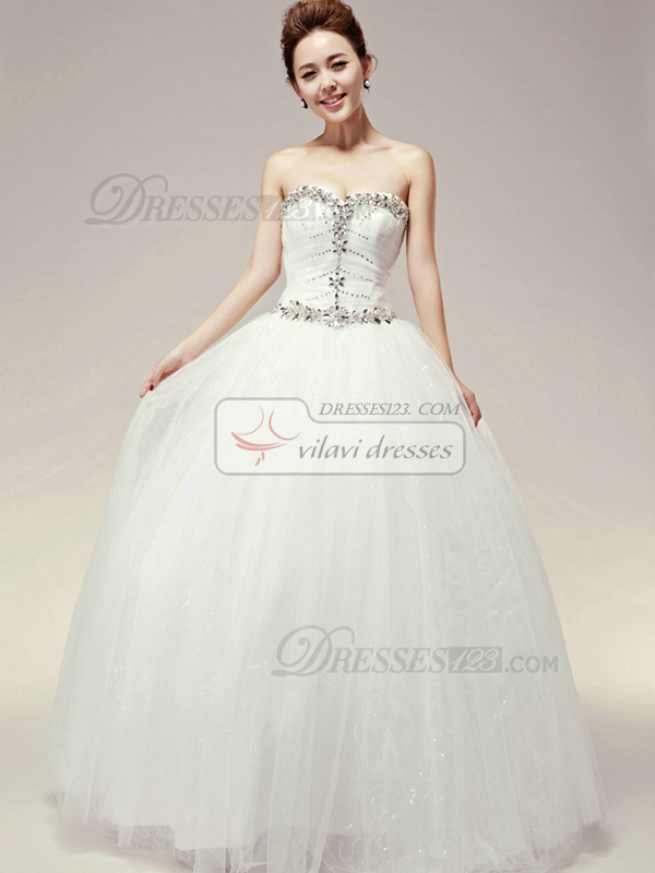 Happiness Promise Ball Gown Crystal Wedding Dresses