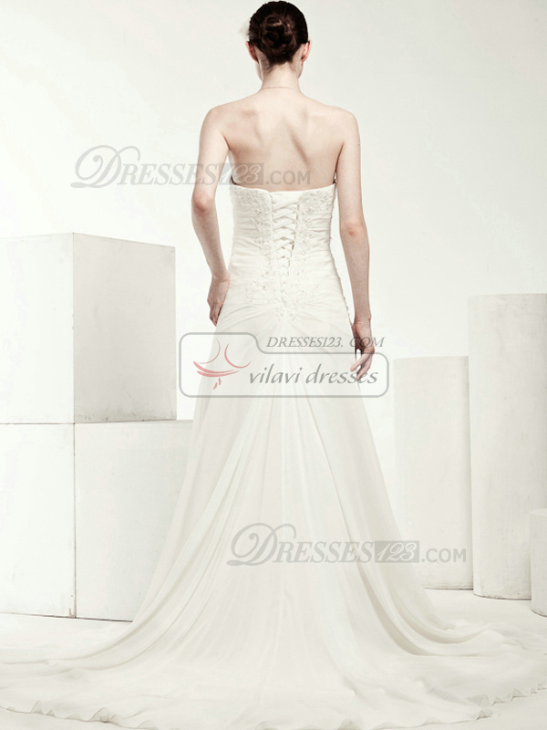 Lovely A-line Chiffon Strapless Appliques Wedding Dresses