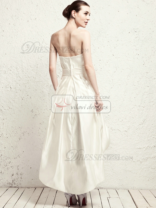 Lovely A-line Satin Asymmetrical Train Sashes Wedding Dresses