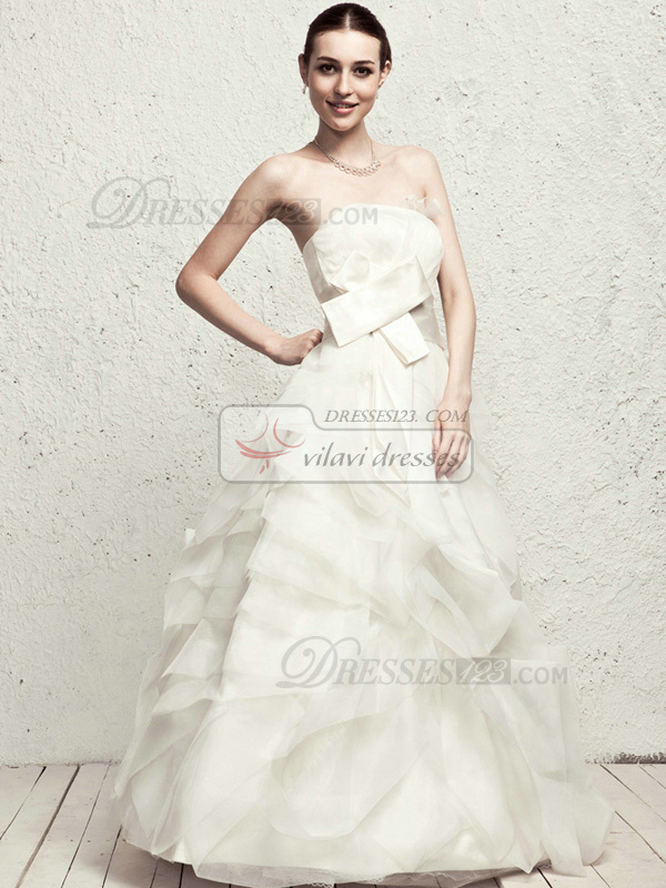 Lovely A-line Tulle Floor-length Tiered Wedding Dresses