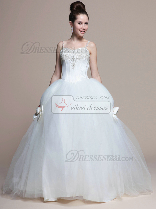 Lovely Ball Gown Straps Chapel Train Bowknot Wedding Dresses