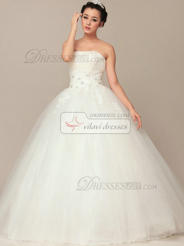 Lovely Ball Gown Tube Top Floor-length Appliques Wedding Dresses