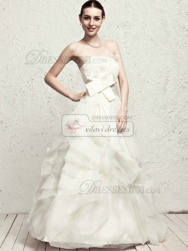 Lovely Ball Gown Tube Top Floor-length Pick-Ups Wedding Dresses