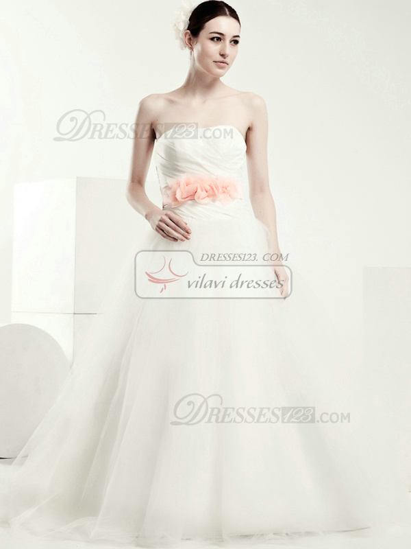 Lovely Ball Gown Tulle Sweep Flower Wedding Dresses