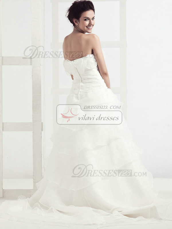 Lovely Princess Organza Chapel Train Cascading Ruffle Wedding Dresses