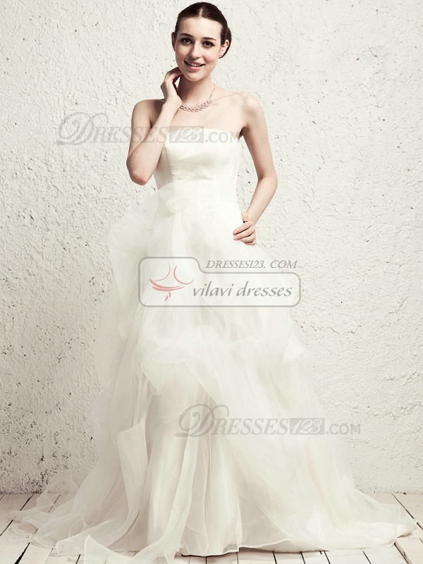 Lovely Princess Organza Chapel Train Pick-Ups Wedding Dresses