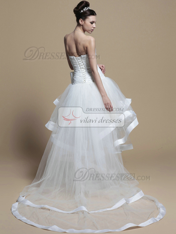 Lovely Princess Tulle Asymmetrical Train Bowknot Wedding Dresses