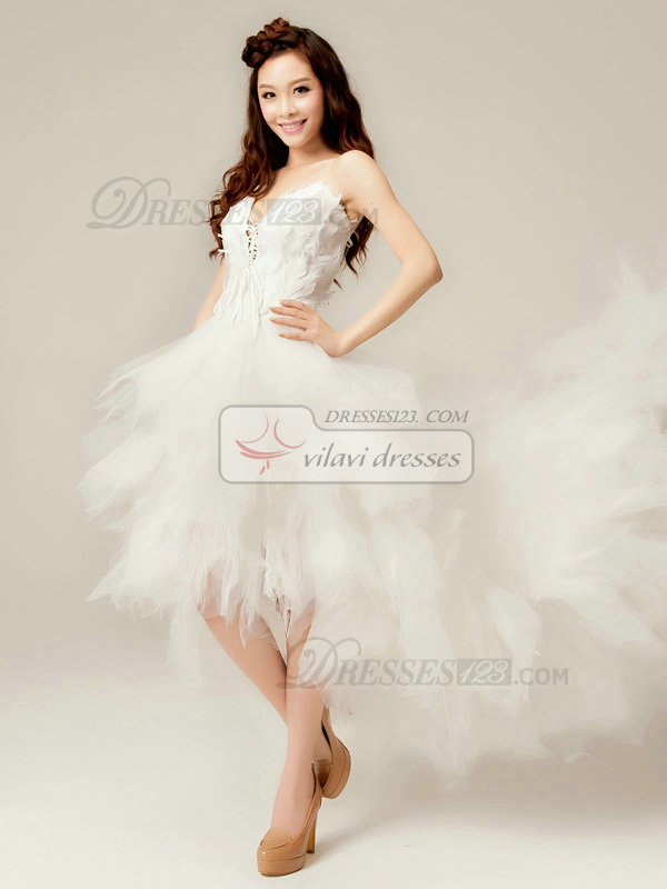 Magnificent Princess Tulle V-neck Asymmetrical Feathers Wedding Dresses
