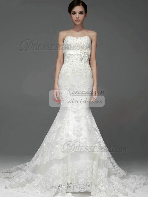 Mermaid Lace Sweetheart Strapless Empire Bowknot Beading Wedding Dresses