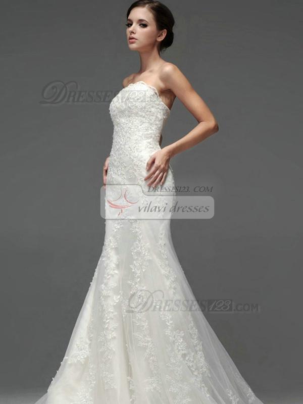 Mermaid Lace Tube Top Strapless Lace-up Sweep Appliques Wedding Dresses