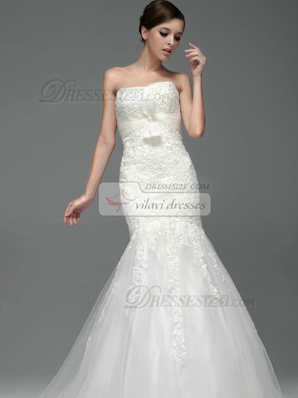 Mermaid Lace Tube Top Strapless Lace-up Bowknot Appliques Wedding Dresses