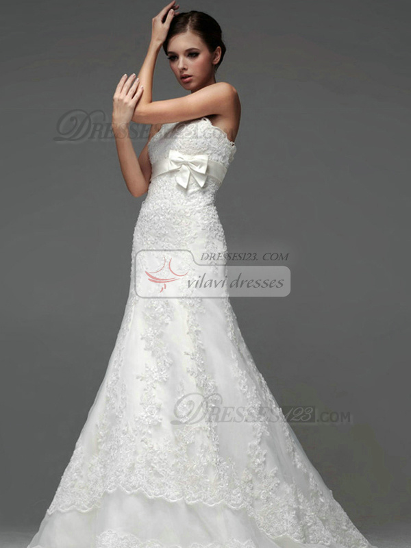Mermaid Lace Tube Top Strapless Lace-up Bowknot Wedding Dresses