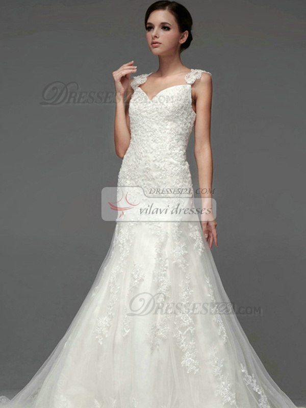 Mermaid Lace V-neck Straps Lace-up Appliques Wedding Dresses