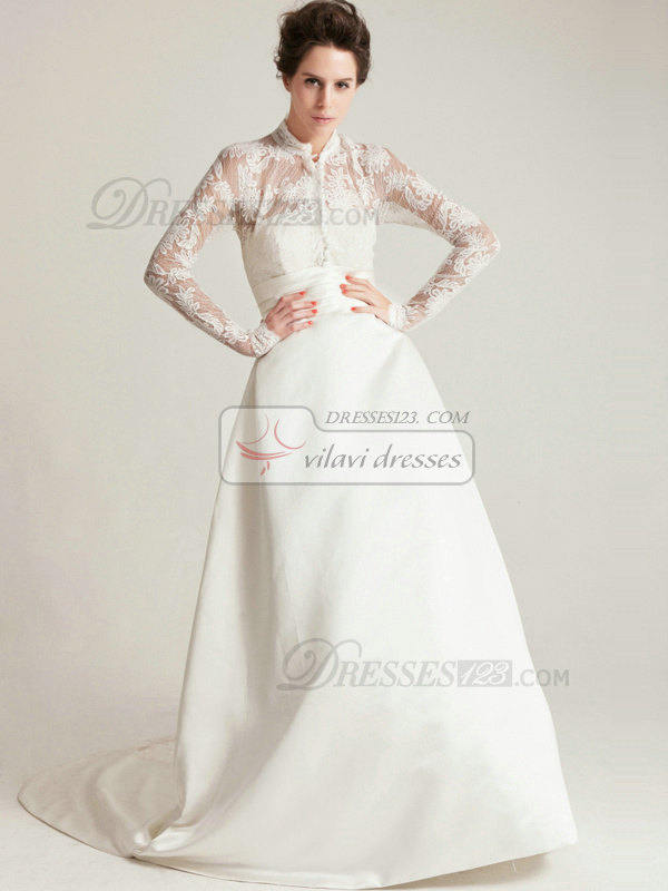 Noble A-Line High neck Lace Sashes Wedding Dress