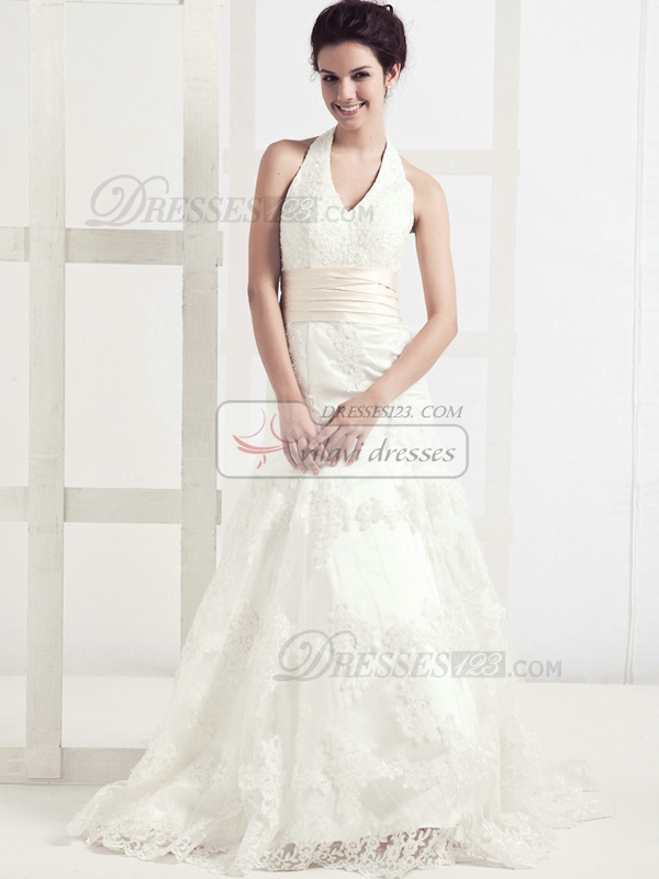 Noble A-line Lace Halter Sashes Wedding Dresses