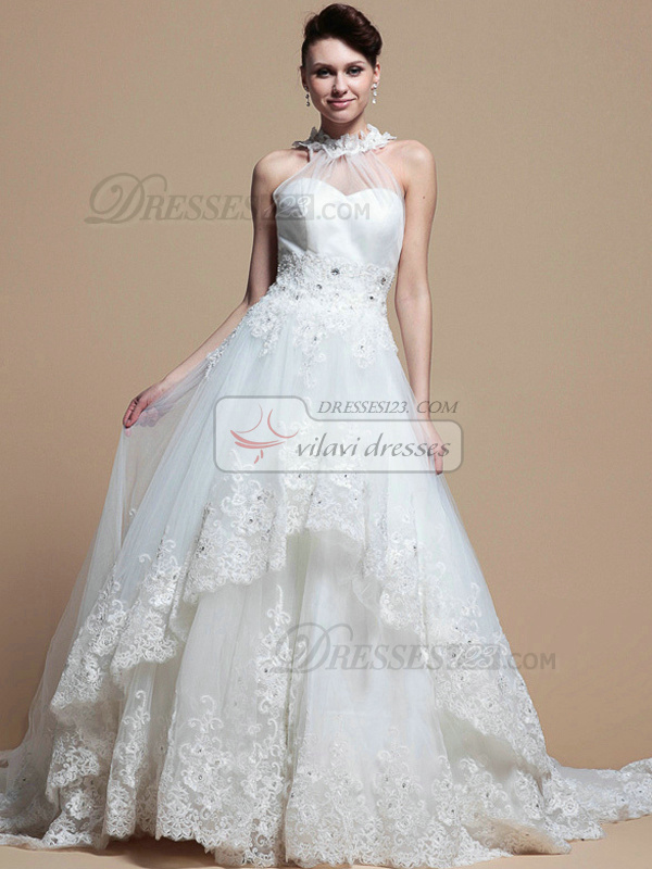 Noble A-line Lace High neck Cathedral Train Wedding Dresses