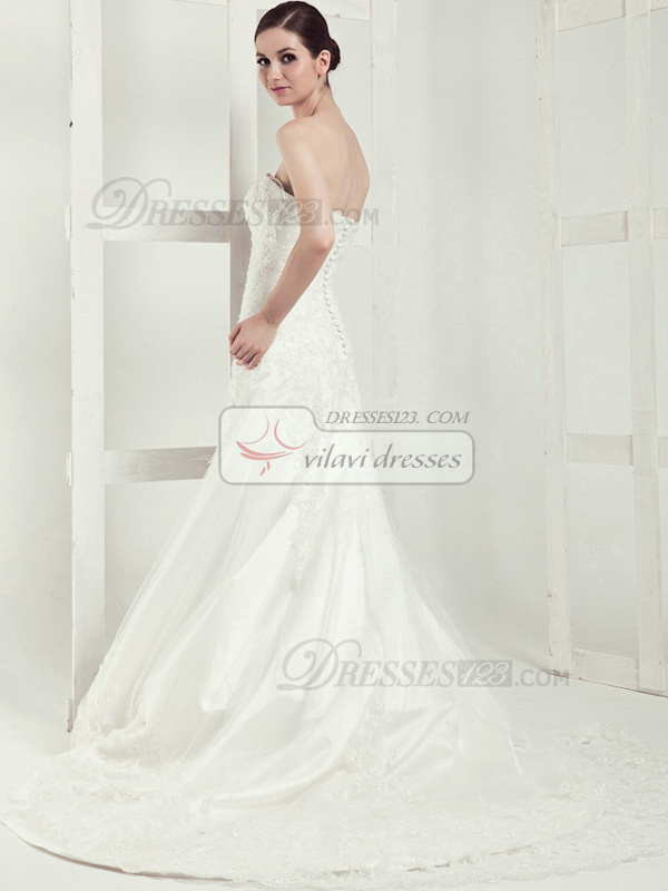 Noble A-line Lace Tube Top Chapel Train Wedding Dresses
