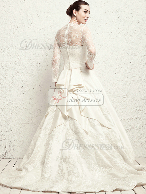 Noble A-line Lace V-neck Cathedral Train Wedding Dresses