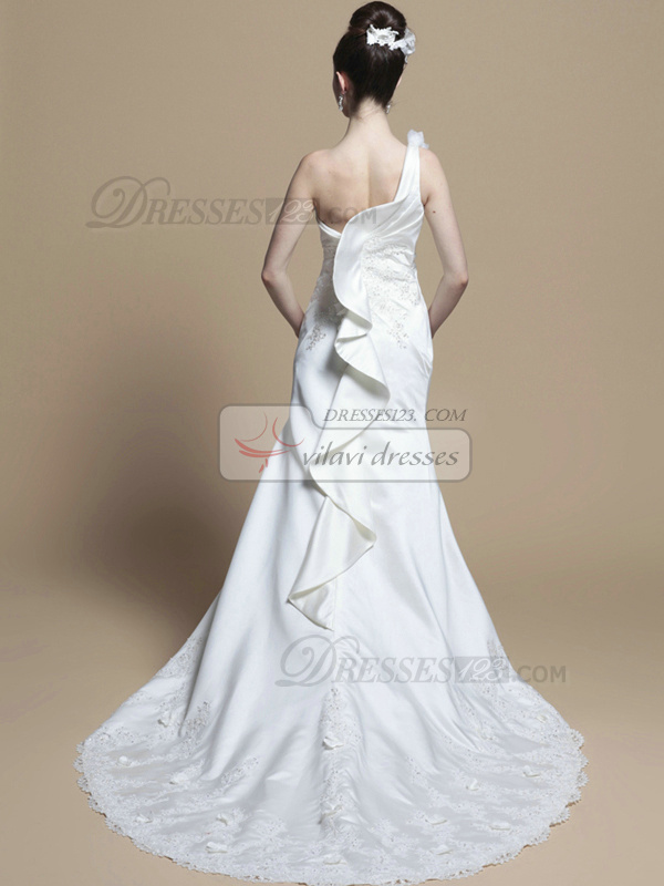Noble A-line Satin One shoulder Appliques Wedding Dresses
