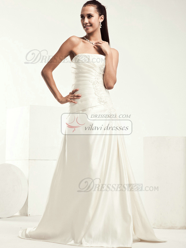 Noble A-line Stretch Satin Strapless Appliques Wedding Dresses