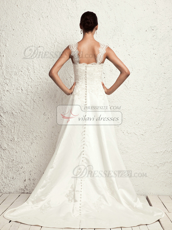 Noble A-line Stretch Satin Straps Appliques Wedding Dresses