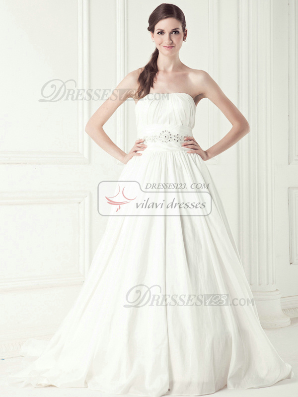 Noble A-line Taffeta Chapel Train Bowknot Wedding Dresses