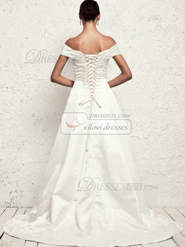 Noble A-line Taffeta Off-the-shoulder Embroidery Wedding Dresses