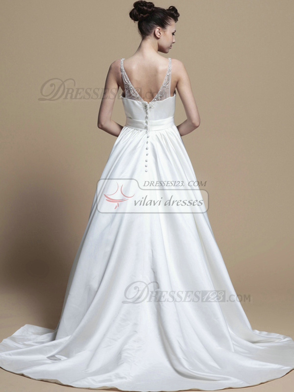 Noble A-line Taffeta Straps Beading Wedding Dresses