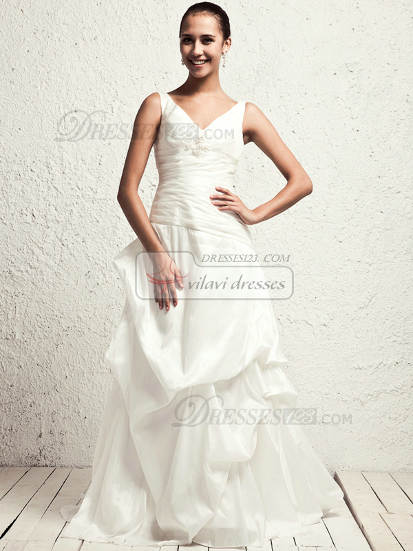 Noble A-line Taffeta V-neck Pick-Ups Wedding Dresses