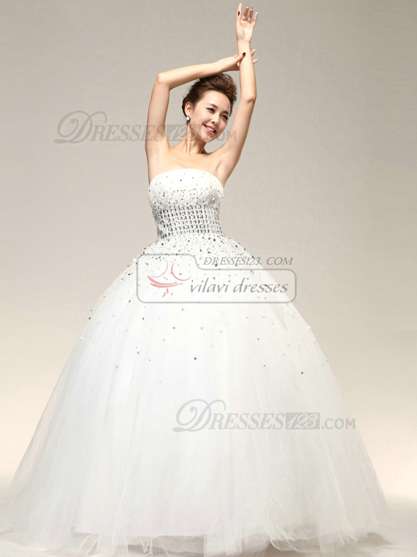 Noble Ball Gown Beading Strapless Wedding Dresses