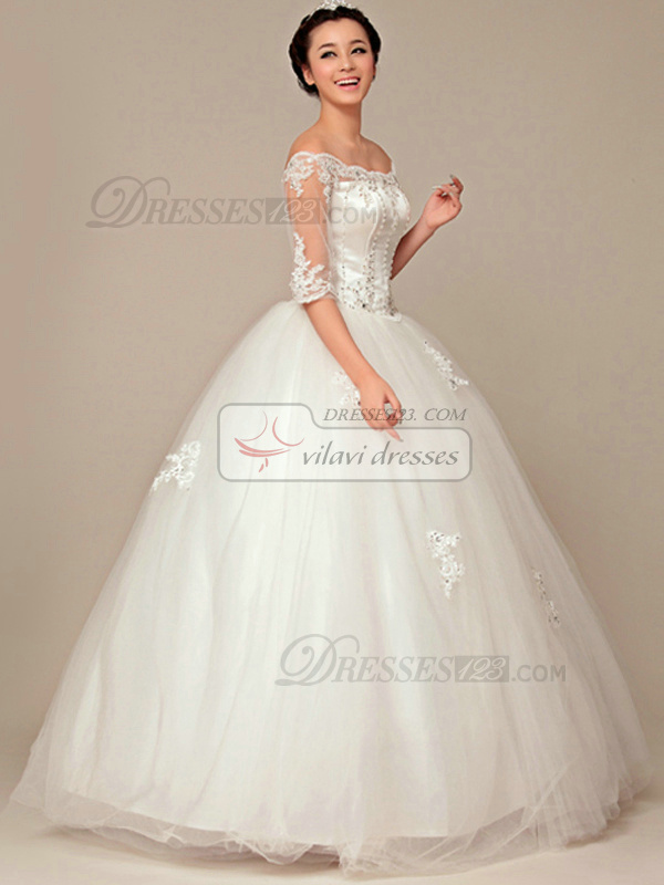 Noble Ball Gown Off-the-shoulder Floor-length Lace Wedding Dresses
