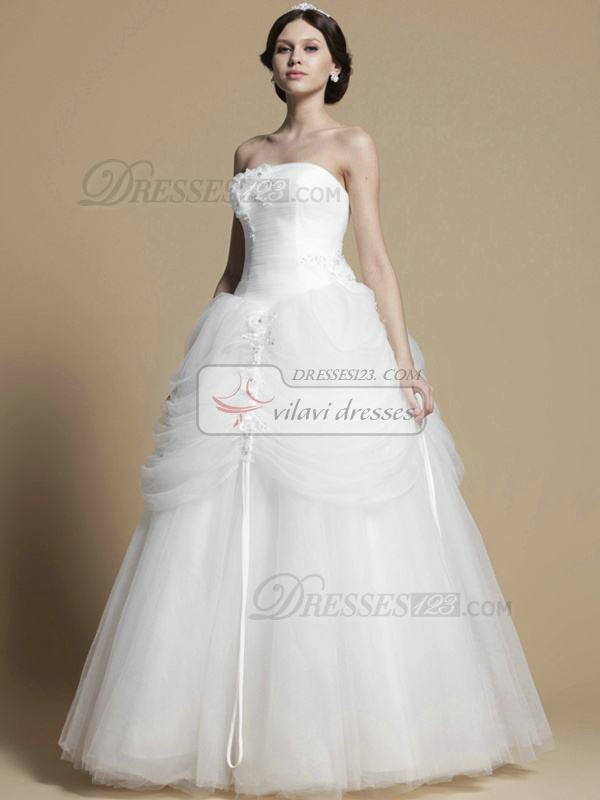 Noble Ball Gown Tulle Floor-length Tiered Wedding Dresses
